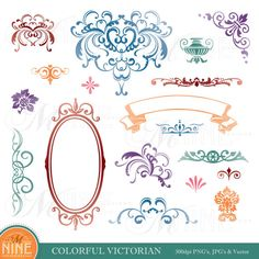 Digital Clipart COLORFUL VICTORIAN Design Elements, Instant Download,  Vintage Accents Frame Borders Clip art