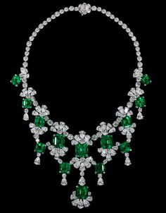 David Morris Old-Mine Natural Columbian Emerald & Diamond Necklace - emeralds weighing 83.90 carats and diamonds at 86.60 carats