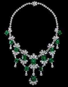 Old-Mine Natural Colombian Emerald & Diamond Necklace. Total Emerald Weight 83,90cts; Total Diamond Weight 86,60ct. David Morris.