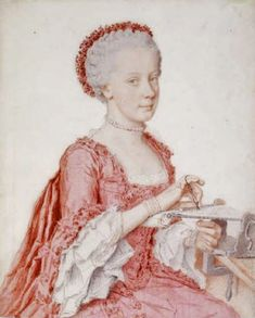 """tiny-librarian: """" A portrait of a 16 year old Maria Amalia of Austria, working on some embroidery. It's part of a series of portraits of the children of Maria Theresa and Francis I done in 1762 by. Marie Antoinette, Rey Luis Xvi, Amelie, Maria Theresia, Austria, Rococo Fashion, 18th Century Fashion, Pastel Drawing, Kaiser"""