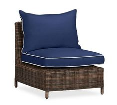 Torrey Sectional Armless, Left-Arm, & Right-Arm Cushion Slipcover, Sunbrella(R) Contrast Piped, Cobalt