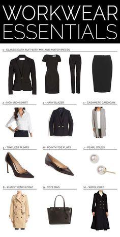 TOP 10 WORKWEAR ESSENTIALS // Workwear wardrobe guide for professional women {Hugo Boss, Burberry, Ralph Lauren, Tory Burch, Jimmy Choo, J Crew, Brooks Brothers, professional attire, wear to work, office style}