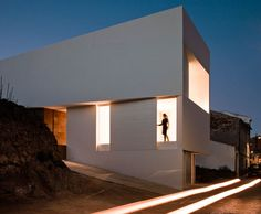 White Concrete House On The Rocks by Fran Silvestre Architects Architecture Résidentielle, Castle Pictures, Villa, House On The Rock, House Styles, Outdoor, Valencia Spain, Behance, Cliff House