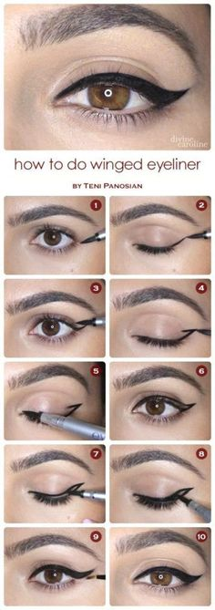 Step by step winged eyeliner tutorial. Great with your eyeshadow and your whole eye makeup look. Use a brush, wand or pencil. Makeup tutorial. Eye liner tutorial, Makeup products