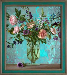 Kenne Gregoire: Roses and turkoois 2013 acryl op linnen 90 x 80