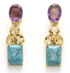 Earrings with Amethyst, Citrine and Turquoise