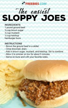 This easy Sloppy Joes recipe is easy to make and taste better than Manwich sloppy joes in a can. How to make sloppy joes with ketchup and brown sugar. You are going to love this quick and easy homemade sloppy joes recipe! Hamburger Meat Recipes Easy, Homemade Sloppy Joe Recipe, Homemade Sloppy Joes, Sloppy Joes Recipe, Healthy Meat Recipes, Crockpot Meat, Healthy Hamburger, Simple Sloppy Joe Recipe, Sloppy Joe Recipe With Brown Sugar