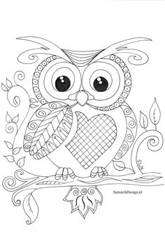 Embroidery Pattern From Uil Doodle Find This Pin And More On Samantha By Sandie Edwards Owl With Heart Tummy Colouring Page