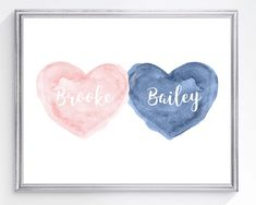 Blush and Navy Wall Decor for Brother Sister Playroom Blush Nursery, Nursery Twins, Nursery Art, Twin Baby Gifts, Welcome New Baby, Navy Walls, Boy Girl Twins, Watercolor Heart, Baby Art