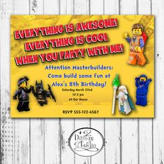 Everything is Awesome Lego Movie Birthday by Plus2DesignStudio, $12.00