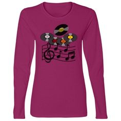 #RetroRecords #MusicStaff #FuschiaLongSleeveTshirt by #MoonDreamsMusic