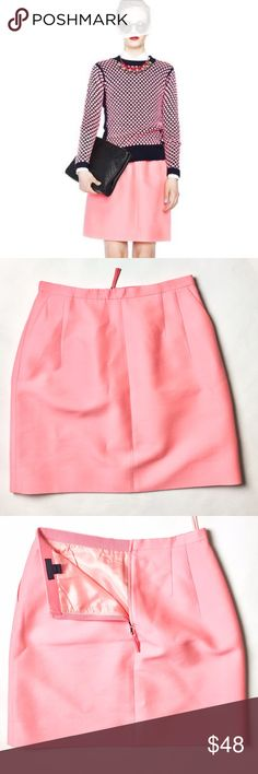 J. Crew Collection Skirt Ready for Spring? 🌺  Details: J.Crew stunning brightly colored pink skirt with two front pockets and back-zip closure. Size 4 in excellent condition. Made mostly of wool and silk with a polyester lining inside.   Kate Harrington Boutique does not trade or negotiate price in the comment section. However, for most items we may consider reasonable offers.   Happy Poshing! J. Crew Skirts