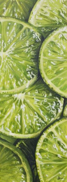 ARTFINDER: Just needs Tonic by Hannah Bruce - These lovely lime slices are part of my series looking at close up macro fruit. They work brilliantly against my strawberry paintings too. I was really int. Fruit Photography, Close Up Photography, Macro Photography, Photography Ideas, Colour Photography, Photography Women, Fruits Drawing, Food Drawing, Drawing Ideas