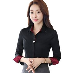>> Click to Buy << Fashion clothes OL women long sleeve shirt black white slim Business Patchwork cotton blouse office ladies plus size formal tops #Affiliate