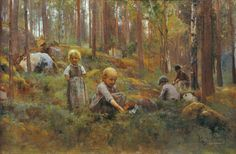 Artist Eero Järnefelt, Tampere Art Museum - In the Bilberry Forest Helene Schjerfbeck, Scandinavian Art, Scandinavian Paintings, European Paintings, Love Illustration, Paintings I Love, Art Museum, Les Oeuvres, Contemporary Art