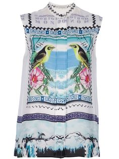 MARY KATRANTZOU printed sleeveless blouse /  Multi coloured silk sleeveless blouse from Mary Katrantzou featuring a band collar, a concealed full length front button fastening, a lightly ruffled rear, a stylised bird postage stamp print and a straight cut hem.