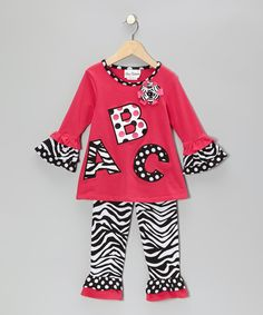 Take a look at this Fuchsia & Black 'ABC' Tunic & Leggings - Infant & Girls on zulily today!
