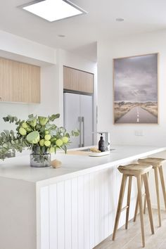 House call: Visit the plant-filled, Scandi inspired home of Haus of Cruze. - House call: Visit the plant-filled, Scandi inspired home of Haus of Cruze. Kitchen Interior, New Kitchen, Kitchen Ideas, Awesome Kitchen, Kitchen Tips, Plants In Kitchen, White Oak Kitchen, White House Interior, One Wall Kitchen