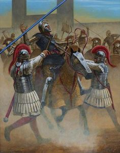 """The battle of Turin 312CE by Seán Ó'Brógáin. Fought during civil wars of the Tetrarchy this was the first major victory of Constantine I against his western rival Maxentius (a campaign ended with the battle of Milvian bridge).Two Constantinian legionaries equiped with maces/clubs are successfully taking down Clibanarius cavalryman from the army of Maxentius as recorded in ancient sources but the most striking detail here is the slightly controversial use of """"Lorica segmentata""""."""