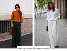 Loose top + high-waisted, wide-leg trousers