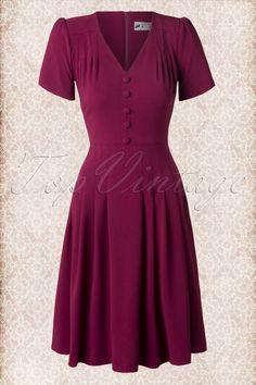 40s Moira Dress in Raspberry Red - Bunny