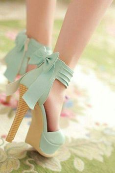 571cf04076821a Stylish High Heel Ankle Strap Blue Bow Design Sandals- these are adorable