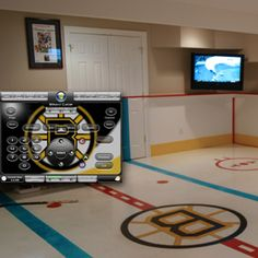 Boston bruins mural boys hockey theme room traditional bedroom for the boys pinterest - Boys basement bedroom ...