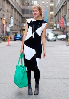 Black, white, green, graphic.