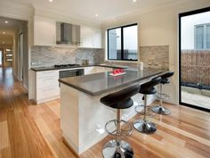 Modern kitchen-dining kitchen design using floorboards - Kitchen Photo 106218