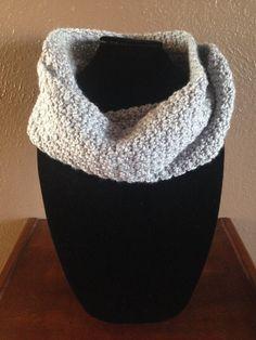 Crochet Infinity Scarf in Light Grey by TheFancyStitcher on Etsy