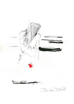 DARTGR1115027 #red #Heart #human #Black #love #Minimal #DanielaDallavalle #Grafismi #loveistheanswer #ink #sketches #art #woman #hair #solitude