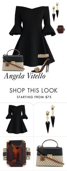 """""""Untitled #857"""" by angela-vitello on Polyvore featuring Chicwish, Alexis Bittar, Gucci and Christian Louboutin"""