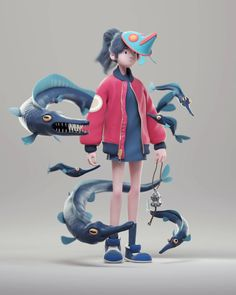 Dennis Rocha also known as Durcot shared the process of creating a stylized character Dragonfish Summoner based on Varguy art. 3d Model Character, Female Character Design, Character Modeling, Character Design Inspiration, Character Concept, Character Art, Cute Characters, Female Characters, Modelos 3d