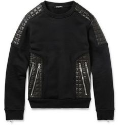 Balmain Leather-Panelled Cotton-Jersey Sweatshirt   MR PORTER