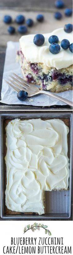 Blueberry Zucchini Cake with Lemon Buttercream combines the best of summer into one delicious, snackable cake! | theviewfromgreatisland.com