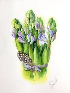 ORIGINAL Aquarell Blumen Bild, Hyazinthen, Stillleben, botanical Illustration, botanical art, hyacinth watercolor painting, gift, wall art Watercolor Plants, Watercolor Art, Botanical Art, Botanical Illustration, Spring Art, Decoupage Paper, Flower Art, Heartfelt Creations, Expressionism