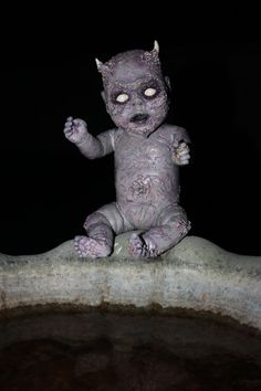 OOAK Evil Demon Hand-Painted Baby Doll by BethDeathHorrorDolls