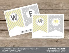 Light yellow and pale grey Elephant Baby Shower bunting banner. EDITABLE -Digital bunting banner- baby shower decor - Printable PDF file. by OKPRINTABLESSHOP on Etsy