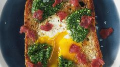 Pesto Egg-In-A-Hole with Bacon