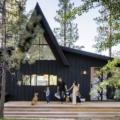 Two fun-loving designers turn a classic cabin in the woods into a modern icon in the making home modern, A-Frame Cabin Gets an A+ Makeover Big Bear Lake, Big Bear Cabin, Big Lake, Cozy Cabin, Lake Cabins, Cabins And Cottages, Exterior Paint, Exterior Design, Cabin Exterior Colors