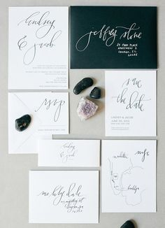 Gorgeous minimalist wedding invitation suite