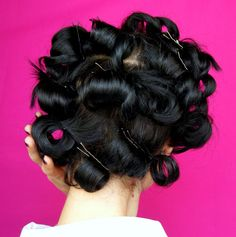 Even though this is a step on our way to 'Agent Carter Hair', aren't pin curls pretty? Think 50s glam! #xoVain