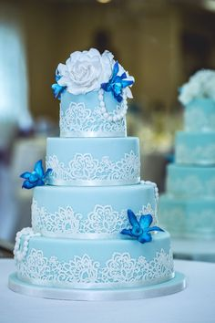 My Blue Wedding Cake With Galaxy Sugar Orchids White Roses Pearls
