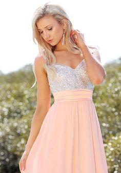 Sequined-Bodice Chiffon Dress