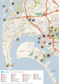 san diego attractions printable map | Download a printable San Diego tourist map showing top sights and ...