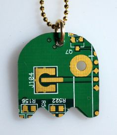 Pacman as a circuit board necklace