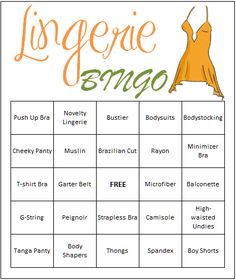Ready-to-print lingerie wedding shower games