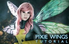 Pixie Wings Tutorial | Poro-Poro.com Costume Journal...Great idea of using heavy card stock for the veins :)
