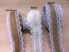 Natural Jute Hessian Burlap Lace Edge Ribbon Vintage Wedding Rustic Craft Ribbon