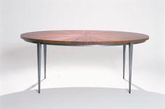 "Harris Rubin ""Elliptical""- bronzed steel base, sunburst veneer mahogany wood top"